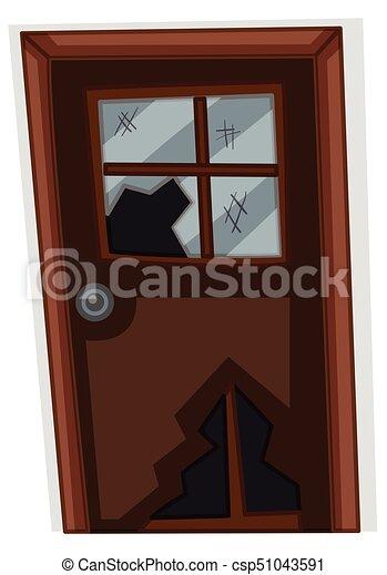 Puerta de madera con vidrio roto - csp51043591