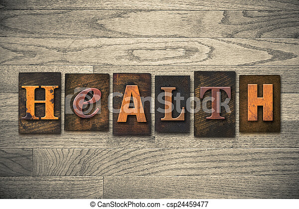 de madera, salud, concepto, tipo, texto impreso - csp24459477