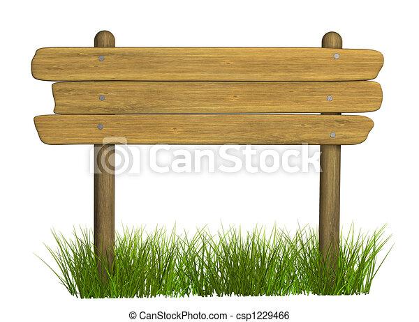 El letrero de madera de tres tablas - csp1229466