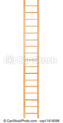Escalera de madera, escalera aislada vertical - csp11616096