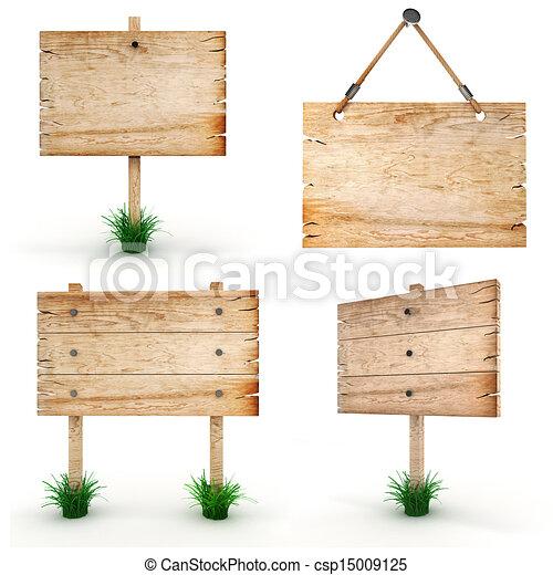 3d cartel de madera en blanco - csp15009125