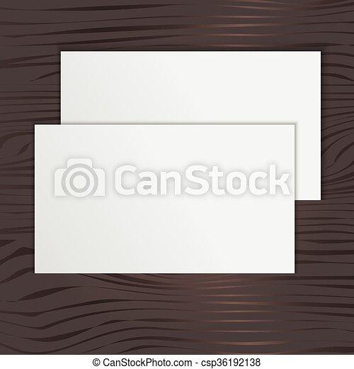Tarjeta en blanco en un fondo de madera - csp36192138