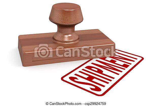 Un cargamento de sellos de madera con texto rojo - csp29924759