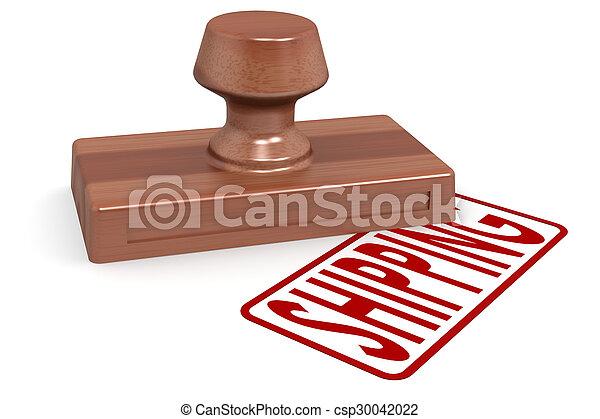 Un envío de sellos de madera con texto rojo - csp30042022