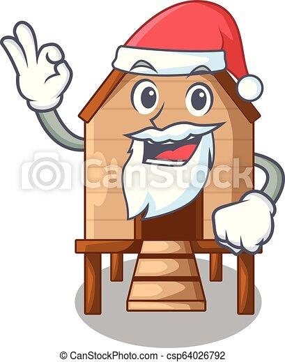 Pollo de Santa en un gallinero de madera - csp64026792