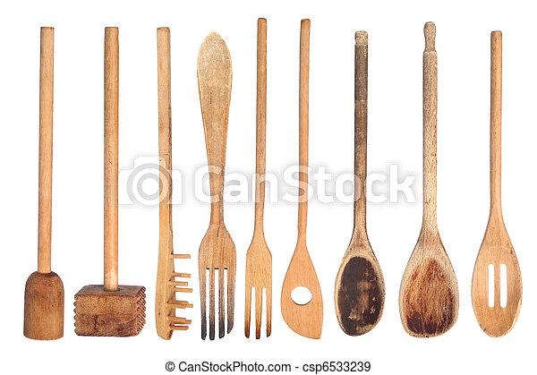 De madera, utensilios, cocina. De madera, aislado,... fotografías de ...
