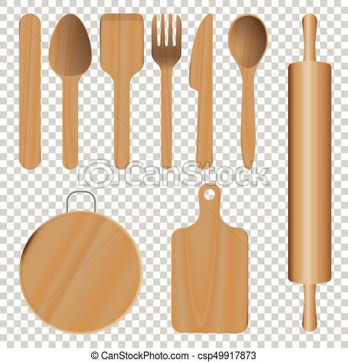 De madera, utensilios, cocina. De madera, aislado,... ilustración ...