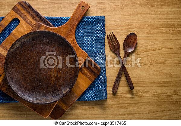 De madera, utensilios, pila, cocina. De madera, fondo.,... imagen de ...