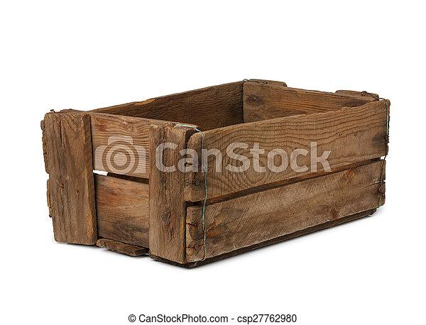 Caja de madera vacía y antigua aislada - csp27762980