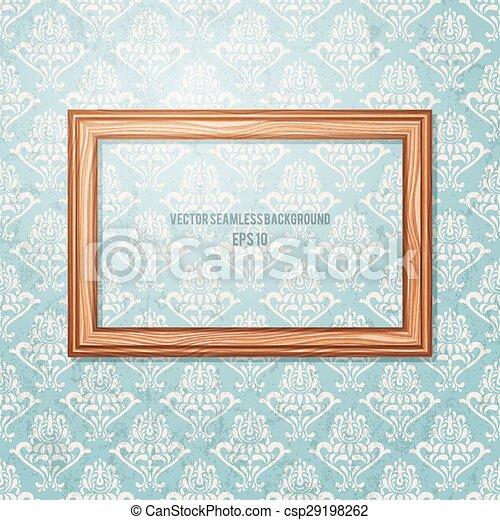 Un marco de madera en la pared. Antecedentes antiguos. - csp29198262