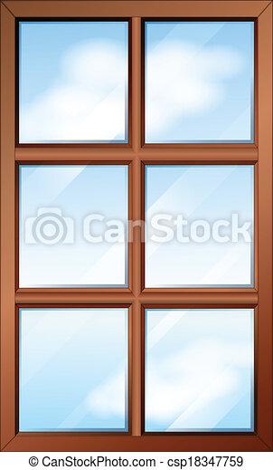 Una ventana de madera con cristales - csp18347759