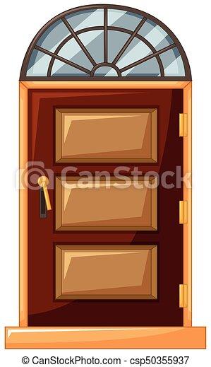 Puerta de madera con vidrio encima - csp50355937