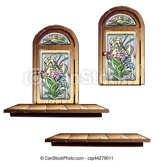 Puerta de madera con vitrales - csp44279011