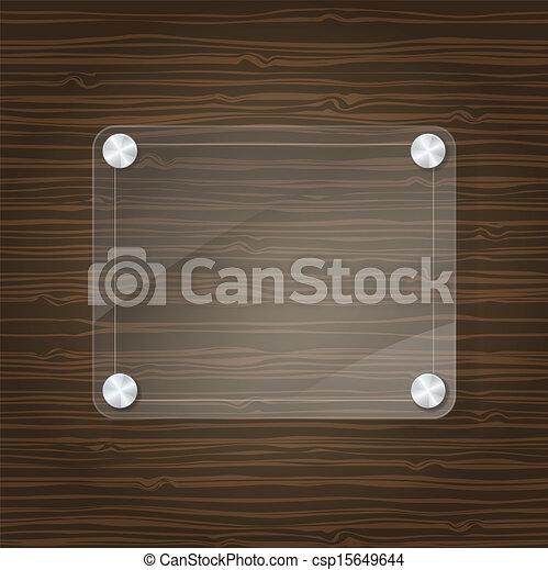 Un marco de vidrio en el fondo de madera - csp15649644