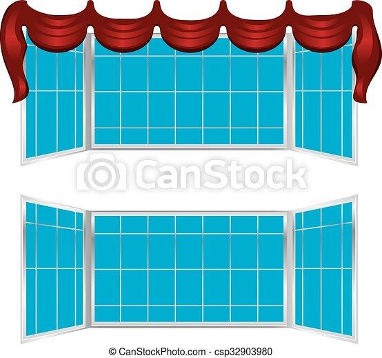 Ventana abierta con cortinas - csp32903980