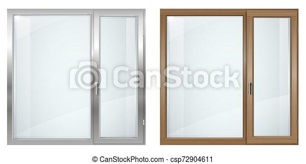 Una ventana de madera moderna y de plástico gris - csp72904611
