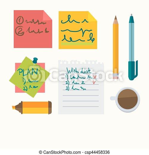 de pictogrammen van het bureau, opmerkingen, vector, briefpapier, boodschap - csp44458336