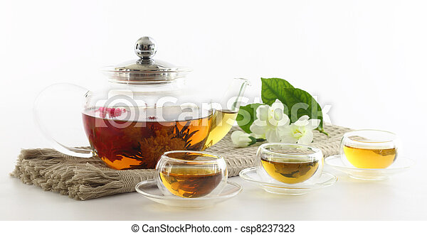 de pot van de thee, koppen - csp8237323