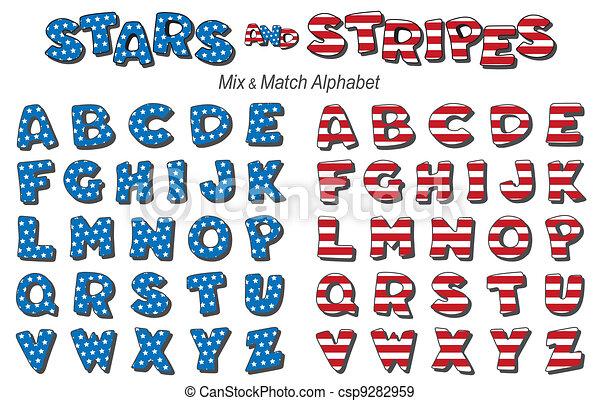 de strepen van sterren, alfabet - csp9282959
