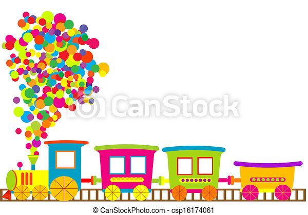 de trein van het stuk speelgoed, gekleurde - csp16174061