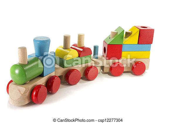 de trein van het stuk speelgoed, hout, gemaakt - csp12277304