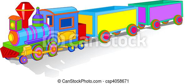 de trein van het stuk speelgoed, kleurrijke - csp4058671