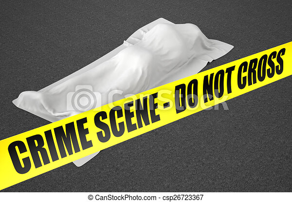 dead body covered with cloth - csp26723367