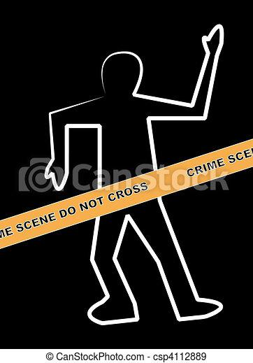 Dead Body Outline With Crime Scene