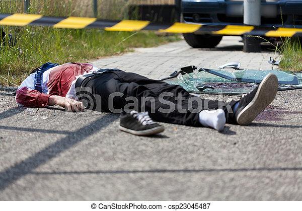 Dead casualty after a car crash - csp23045487