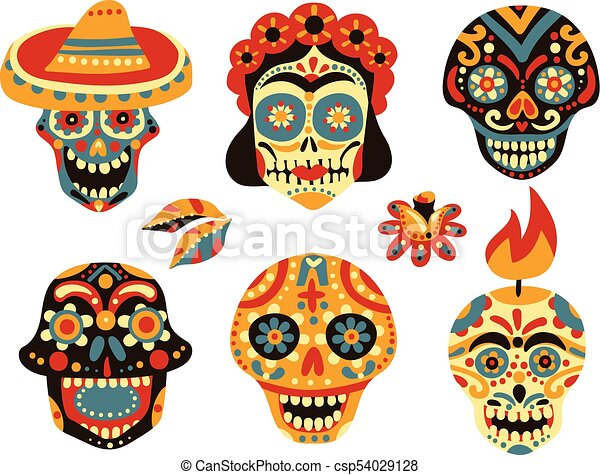 dead day mexico skulls set mexican day of dead traditional colorful