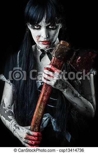 Dead female zombie with bloody axe - csp13414736
