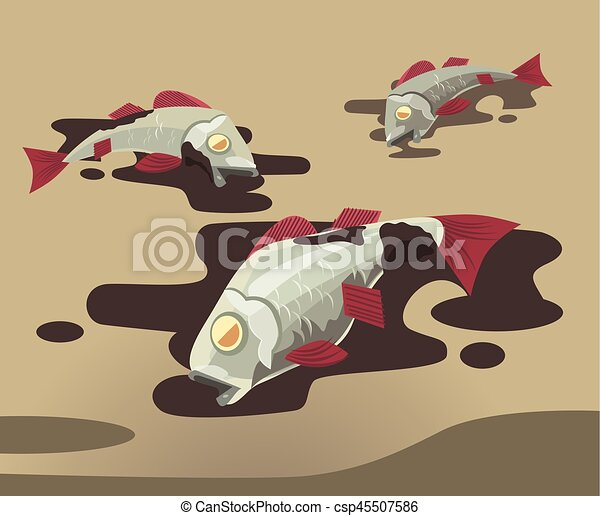 dead fish covered in oil pollution of environment vector flat rh canstockphoto com Happy Cartoon Fish dead fish cartoon images