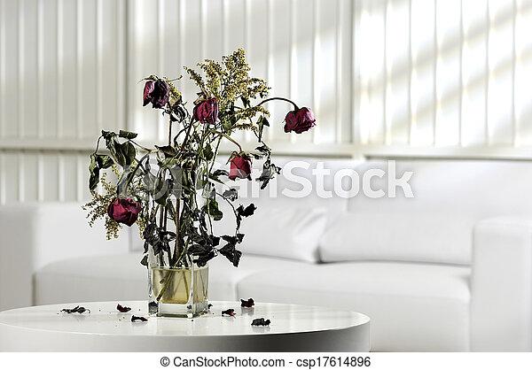 Photography Scenario With Vase Of Dead Flowers