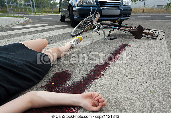 Dead Woman On The Street Dead Woman After Car Accident On