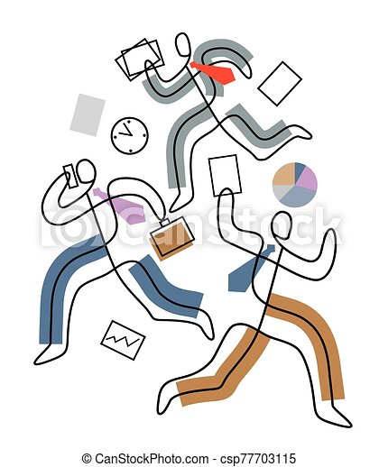 Deadline, chaos in Business, people in a hurry. - csp77703115