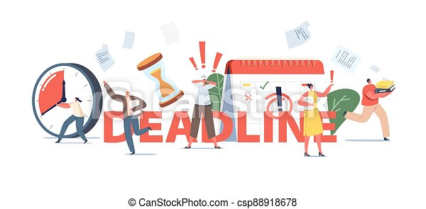 Deadline Concept. Anxious Business People Running, Stressed Workers Hurry Up with Job. Characters in Chaos Office - csp88918678