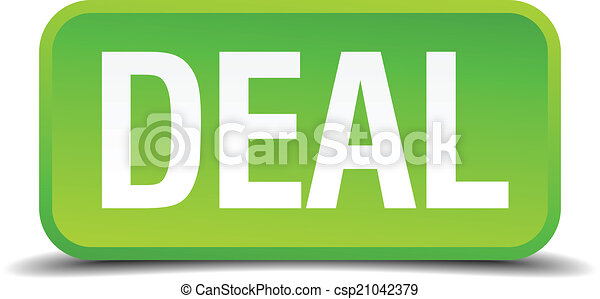 Deal green 3d realistic square isolated button - csp21042379