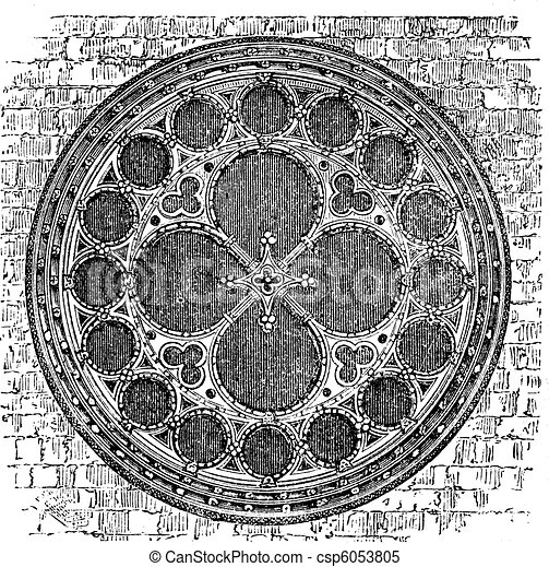 Dean's eye rose window in the North Transept of Lincoln Cathedral, England. Old engraving. - csp6053805