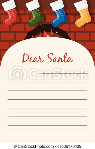 Dear Santa Christmas stationery template letter paper note. - csp86170439