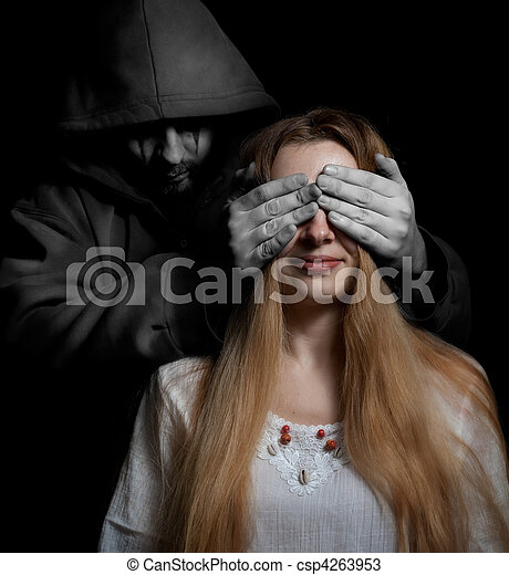 Death concept: woman surprised by evil sinister man - csp4263953