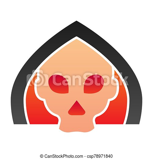 Death flat icon. Grim reaper skull, creepy demon face in hood. Halloween party vector design concept, gradient style pictogram on white background. - csp78971840
