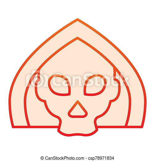 Death flat icon. Grim reaper skull, creepy demon face in hood. Halloween party vector design concept, gradient style pictogram on white background. - csp78971834