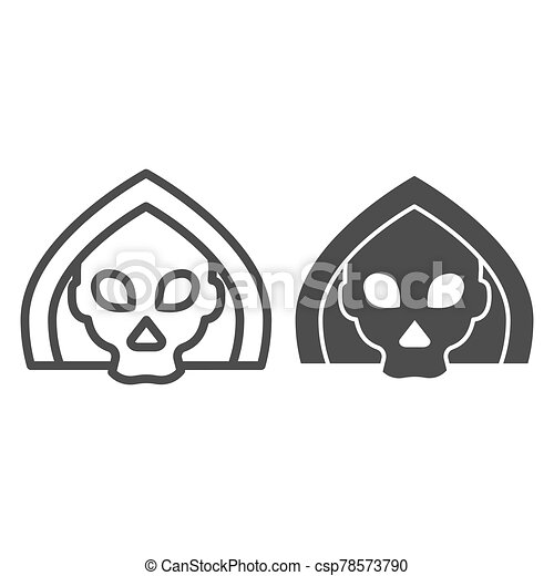 Death line and solid icon. Grim reaper skull, creepy demon face in hood. Halloween party vector design concept, outline style pictogram on white background. - csp78573790
