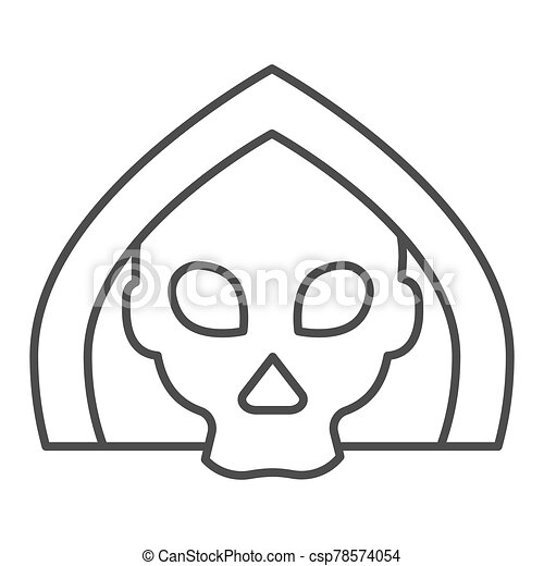 Death thin line icon. Grim reaper skull, creepy demon face in hood. Halloween party vector design concept, outline style pictogram on white background. - csp78574054