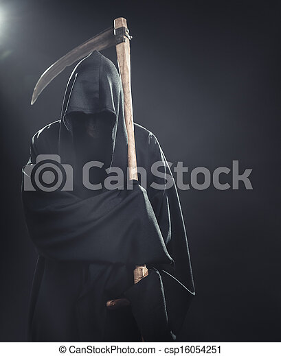 death with scythe standing in the fog at night - csp16054251