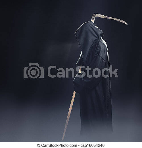 death with scythe standing in the fog at night - csp16054246
