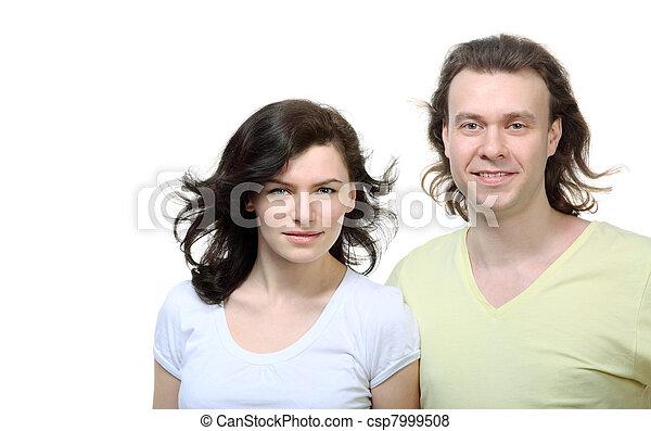 debout, épaule, amour, couple, jeune, ils, portrait - csp7999508