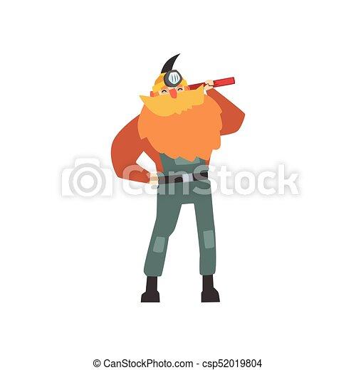 debout, épaule, sien, red-bearded, mineur, pic - csp52019804