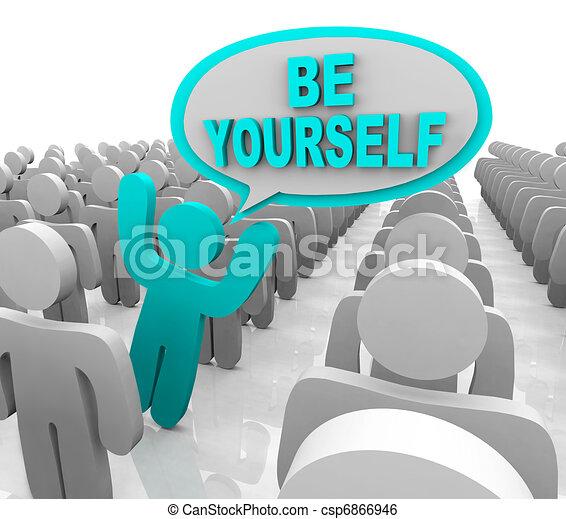 debout, être, différent, foule, -, personne, vous-même, dehors - csp6866946