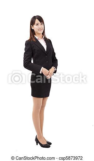 debout, affaires femme, jeune, asiatique, sourire - csp5873972